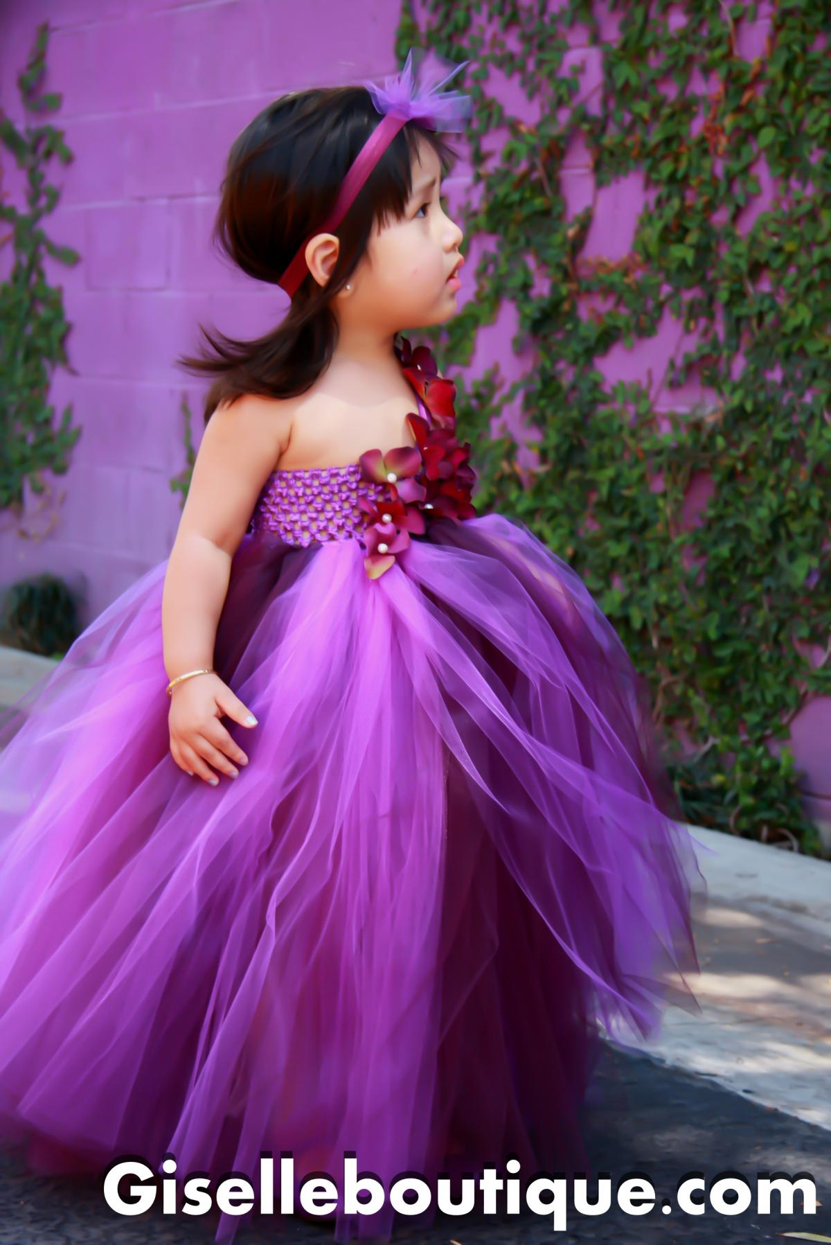 Flower girl dress Eggplant and Purple , baby tutu dress, toddler tutu dress, wedding, birthday, Newborn, 2t,3t,4t,5t