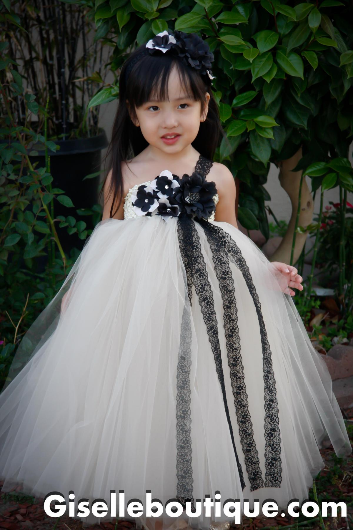 Flower Girl Dress. Mesh With Black Lace Tutu Dress. Baby Tutu Dress ...