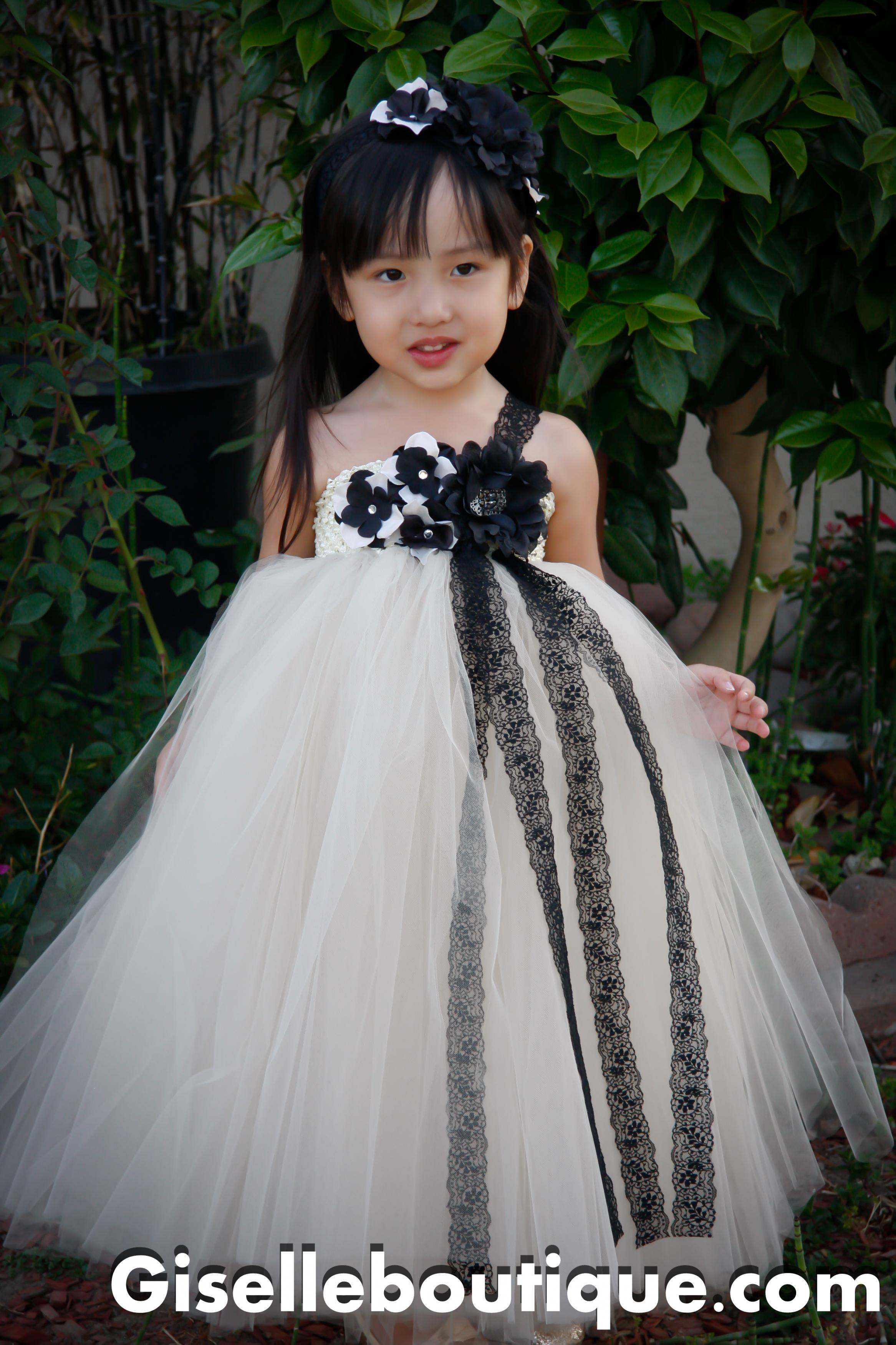 Flower Girl Dress Mesh With Black Lace Tutu Dress Baby Tutu Dress