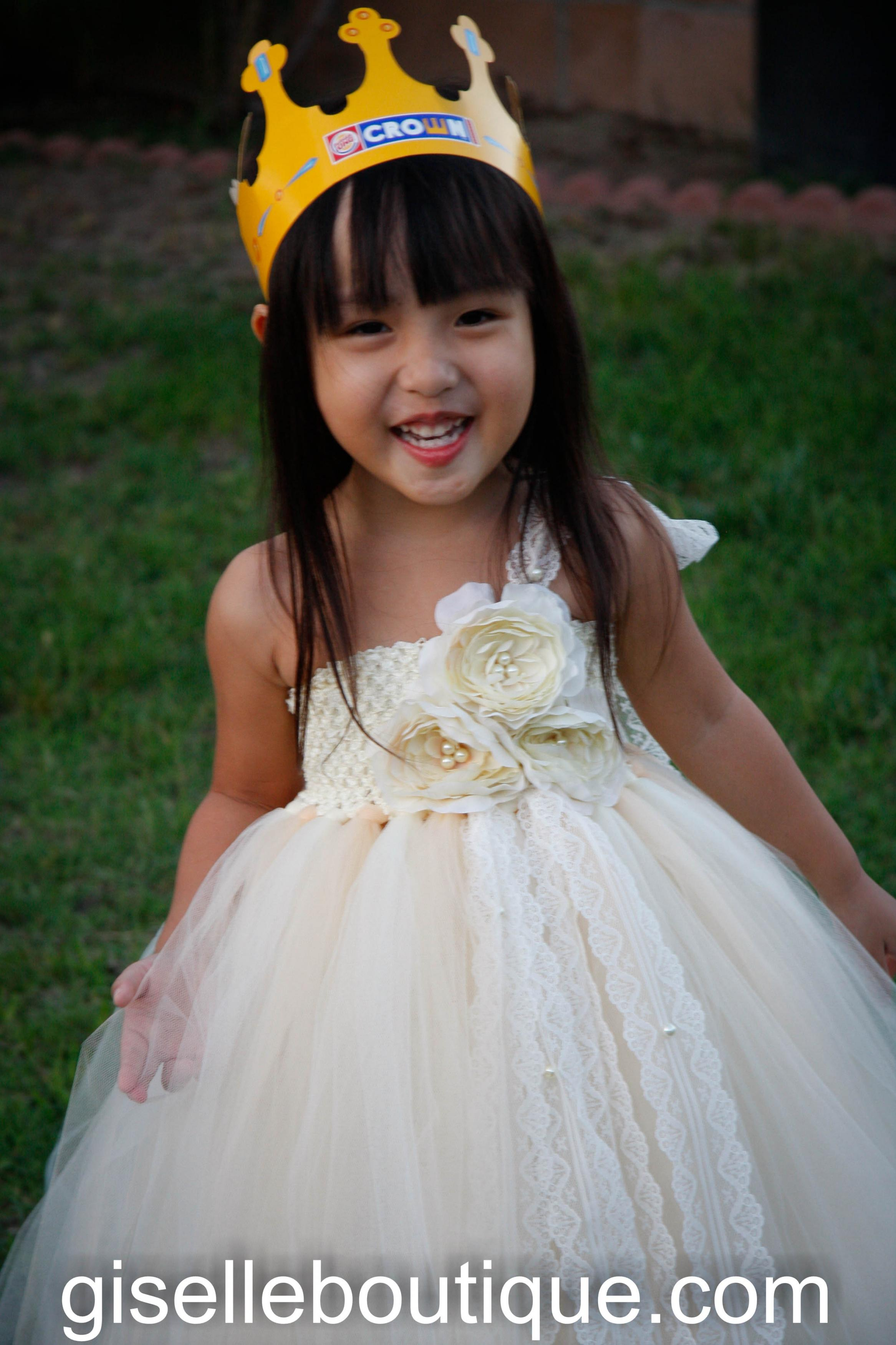 Flower Girl TuTu Dress. Ivory And Beige With 3 Roses TuTu Dress ...